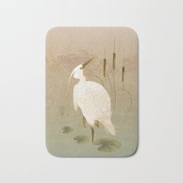 White Heron in Bulrushes Bath Mat