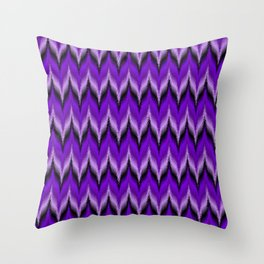 Bargello Pattern in Purple and Black Throw Pillow