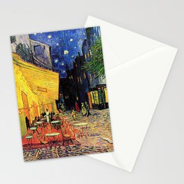 The cafe terrace on the place du forum, Arles, at night, by Vincent van gogh.  Stationery Cards