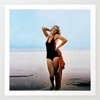 jessica lange Art Prints featuring Young Jessica Lange by BeeJL