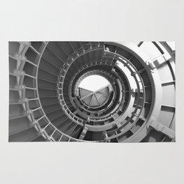 Gray's Harbor Lighthouse Stairwell Spiral Architecture Washington Nautical Coastal Black and White Rug