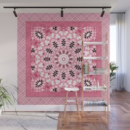 pink ornament, kaleidoscope, mandala, patchwork, pink mandala Wall Mural