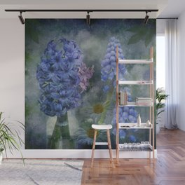 Painterly spring flowers on a grunge background Wall Mural