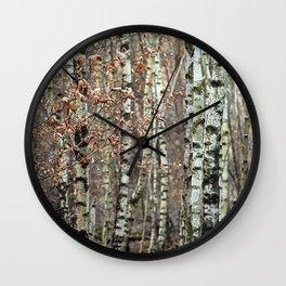 Birkenwald im Winter Wall Clock