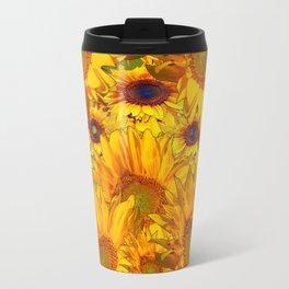 Avocado Color Sunflowers Abstract Art Travel Mug