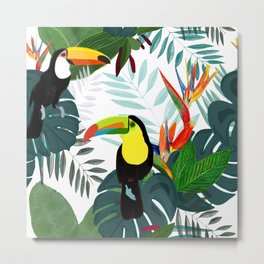 Toucan and Bird of Paradise Flowers Tropical Forest Colorful Summer Pattern Metal Print