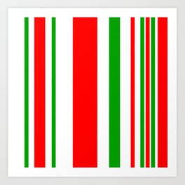Christmas Stripes of Green Red and White- candy cane colors Art Print
