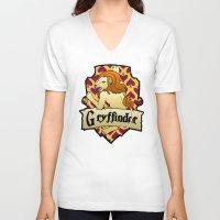 gryffindor V-neck T-shirts featuring Gryffindor Crest by AriesNamarie