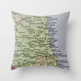 Vintage Map of Northumberland Throw Pillow