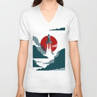 wall clock V-neck T-shirts featuring The Voyage by Danny Haas