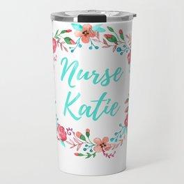 Nurse Katie - Floral Wreath - Watercolor Travel Mug