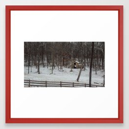 Snowy Barn Framed Art Print