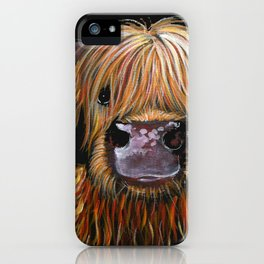 Scottish Highland Cow ' HENRY ' by Shirley MacArthur iPhone Case
