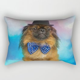 Cute Pekingese dog with bow tie and hat Rectangular Pillow
