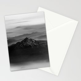 The West is Burning - Mt Shasta Black and White Stationery Cards