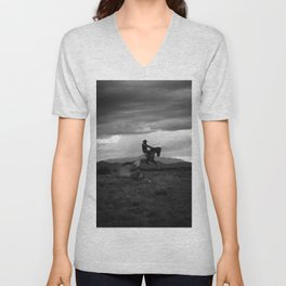 Black and White Cowboy Being Bucked Off Unisex V-Neck