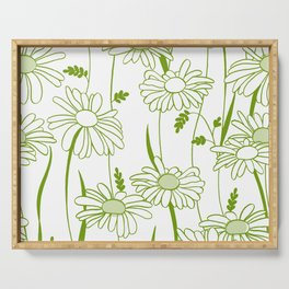 Flowing Daisies Spring Green Serving Tray
