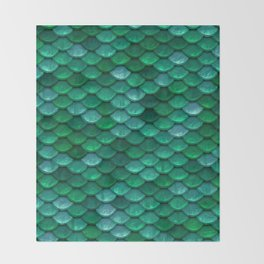 Green Penny Scales Throw Blanket