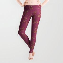 Golden Retriever Pattern (Berry Background) Leggings