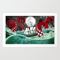 kraken Art Prints featuring Kraken by Beth Naeyaert