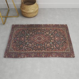 Central Persia Kashan Old Century Authentic Colorful Red Blue Purple  Vintage Patterns Rug