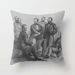 President Lincoln and His Commanders Throw Pillow