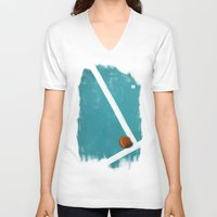 tennis V-neck T-shirts featuring Tennis by Matt Irving