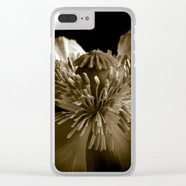 Sepia Poppy Portrait Clear iPhone Case