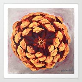 Protected, Macro Pine Cone Painting Art Print