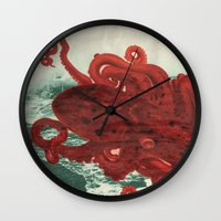 octopus Wall Clocks featuring Octopus Beach by Chase Kunz