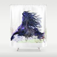 running Shower Curtains featuring Horse running  by Mary Karydy