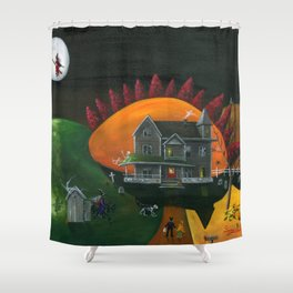 Hilly Haunted House Shower Curtain