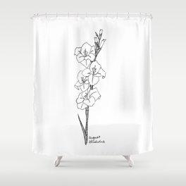 August Gladiolus Art Print / Birth Flower  / Botanical Art  / August Birthday / Black and White Shower Curtain