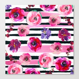 Bold Stripes and Florals Canvas Print