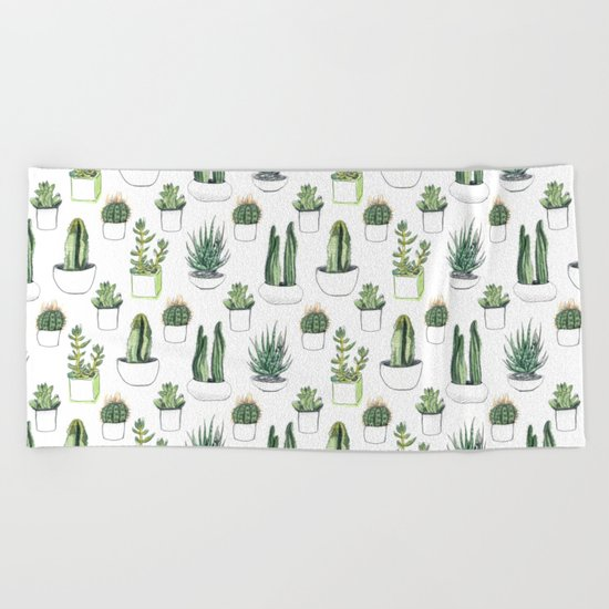 watercolour cacti and succulent Beach Towel