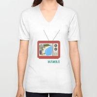 hawaiian V-neck T-shirts featuring Hawaiian TV by uzualsunday
