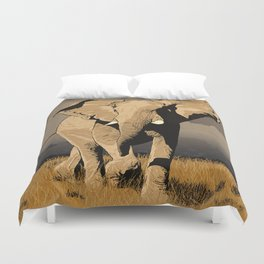 The Elephant's Marching Duvet Cover