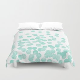 Scattered Glitter Dots in mint, green, pistachio, cool girly cute colors for trendy cell phone case Duvet Cover