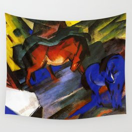 """Franz Marc """"Red and Blue Horses"""" Wall Tapestry"""