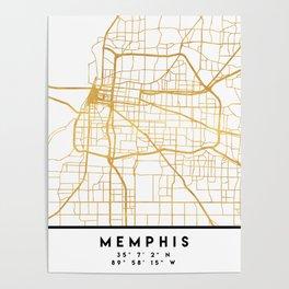 MEMPHIS TENNESSEE CITY STREET MAP ART Poster