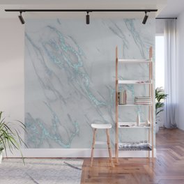 Marble Love Sea Blue Metallic Wall Mural
