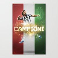 juventus Canvas Prints featuring Juventus CAMPIONI by peteschwadel