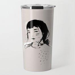 Modern Pencil Drawing Fine Art Portrait. Asian woman. Travel Mug