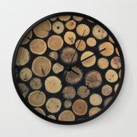 wood Wall Clocks featuring Wood by Ashli Amabile Designs