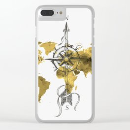 Gold World Map 2 Clear iPhone Case