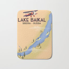 Lake Baikal Siberia Russian travel poster Bath Mat