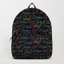 LOVE DREAM WISH SHINE-BLACK Backpack