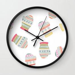Warm Woolen Mittens Wall Clock