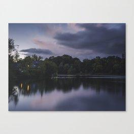 """Last of the pinks"". Smithy Pond, Wingerworth, UK Canvas Print"