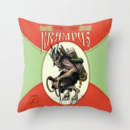 """Here Comes Krampus"" Throw Pillow"